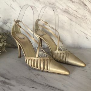 Stuart Weitzman Metallic caged strappy heels gold